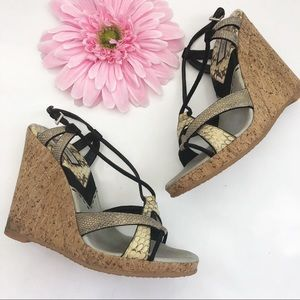 Prada Cork Wedge Metallic Snakeskin Sandals